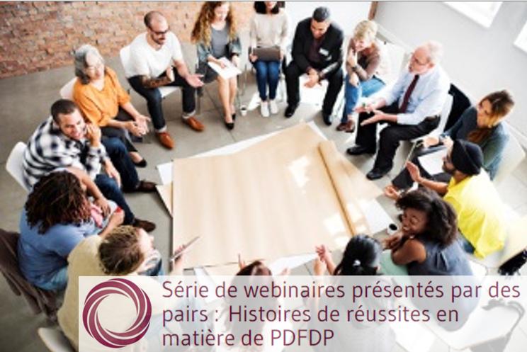 Série de webinaires présentés par des pairs : Histoires de réussites en matière de PDFDP