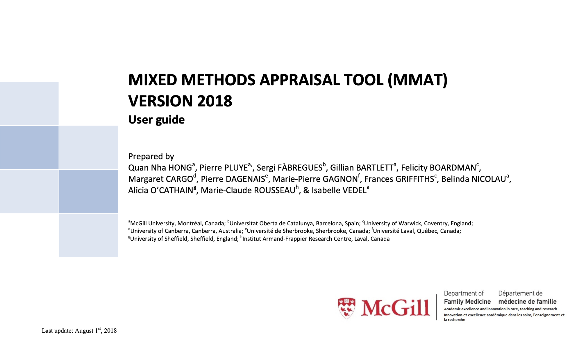 Mixed Methods Appraisal Tool (MMAT) Version 2018 User Guide