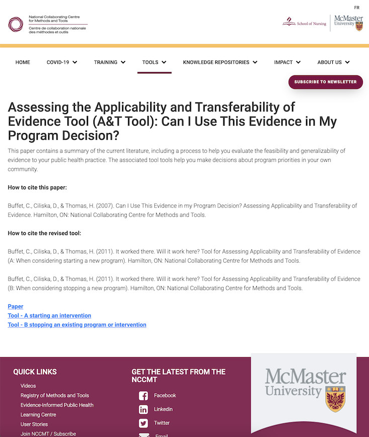 Applicability and Transferability of Evidence Tool (A&T Tool)