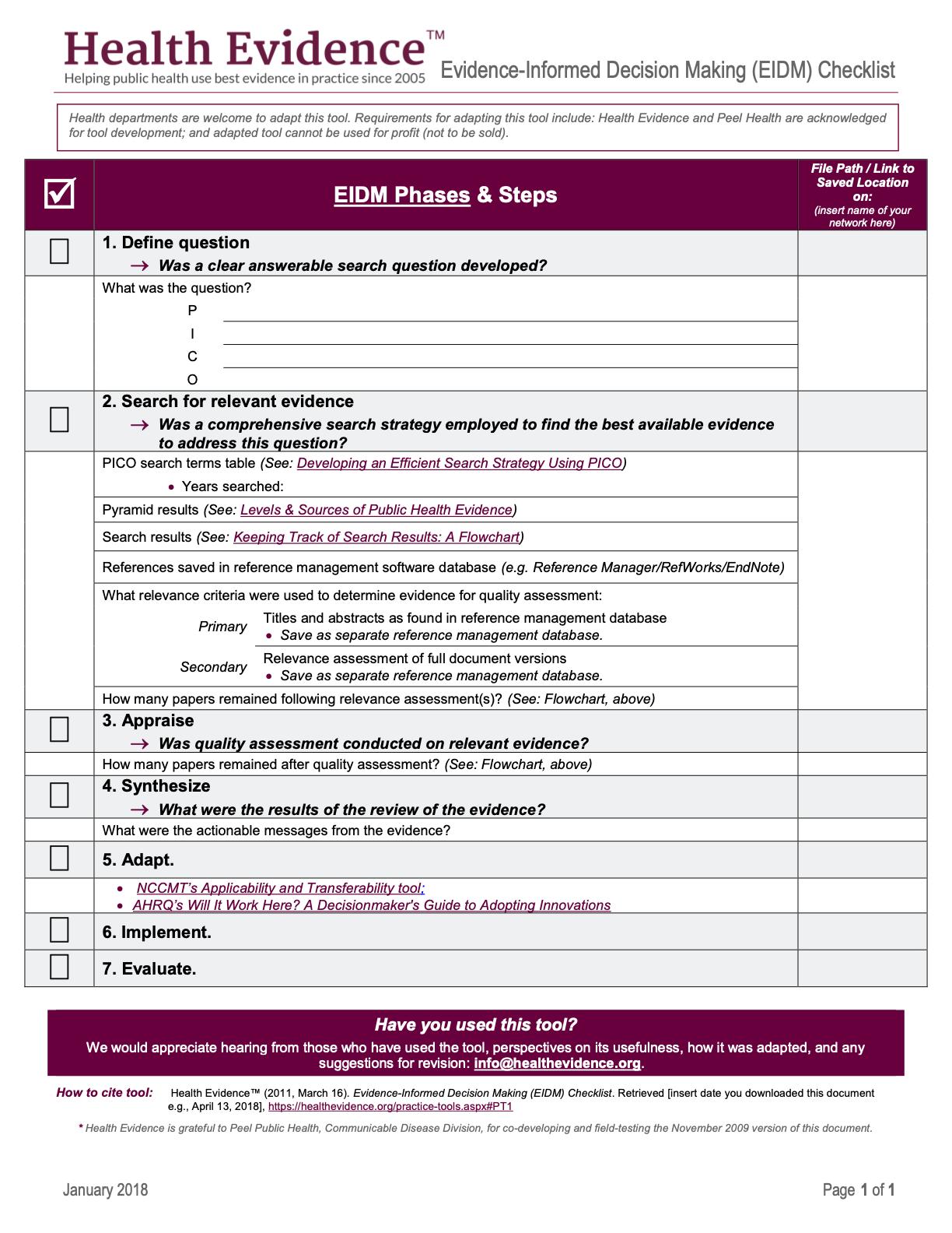 Evidence-Informed Decision Making (EIDM) Checklist