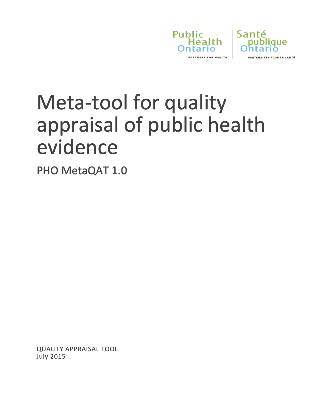 Meta-Tool for Quality Appraisal of Public Health Evidence: Public Health Ontario (PHO) MetaQAT 1.0