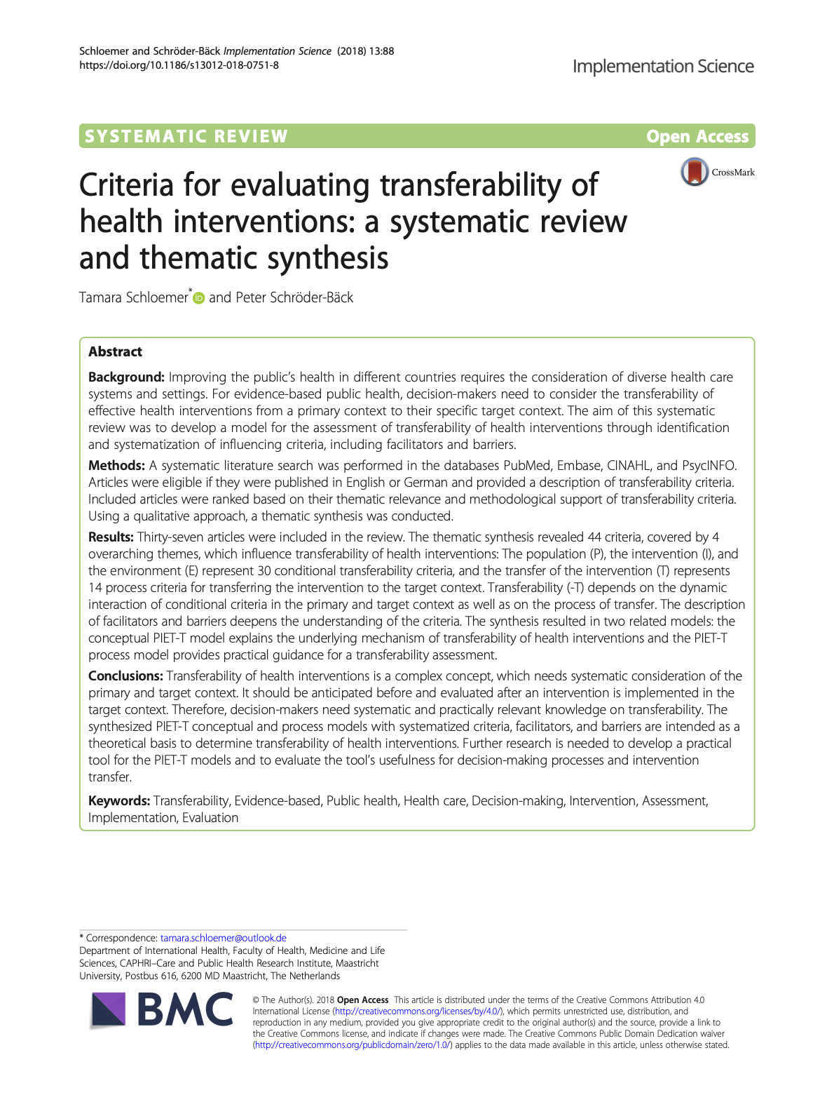 Criteria for evaluating transferability of health interventions