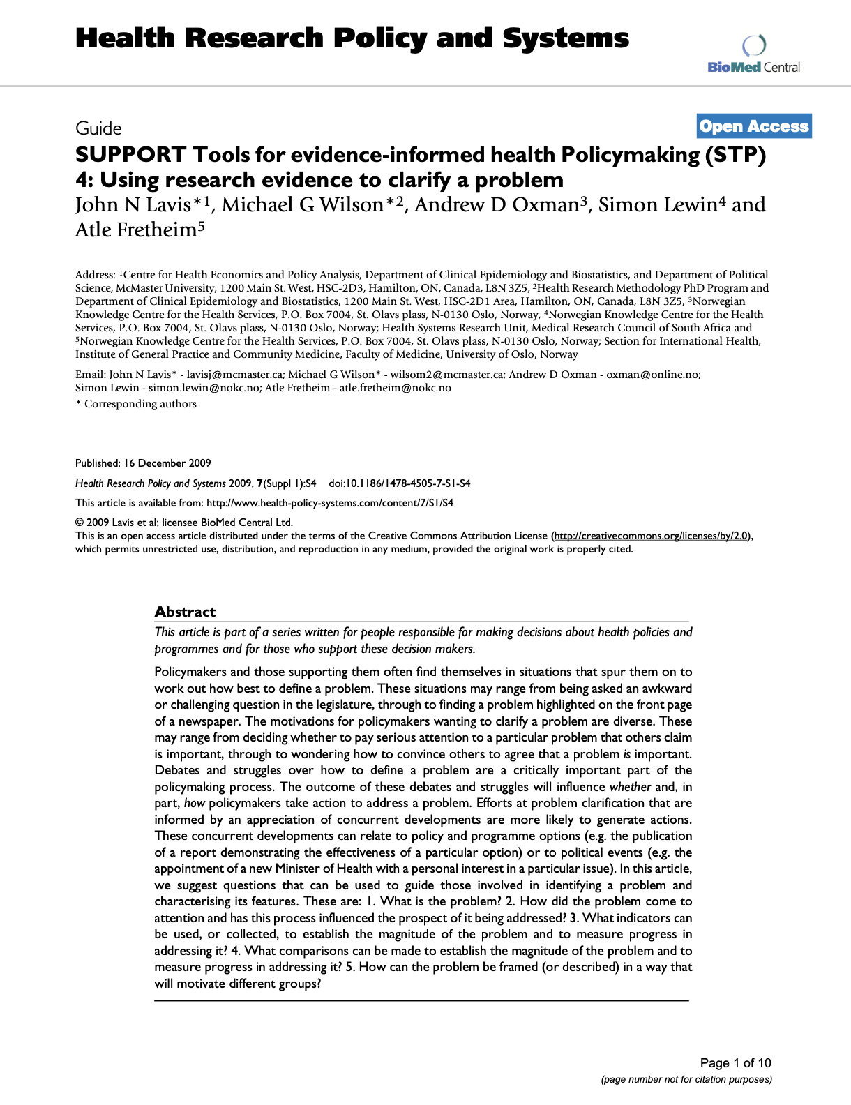 SUPPORT Tools for Evidence-Informed Health Policymaking (STP) 4: Using Research Evidence to Clarify a Problem