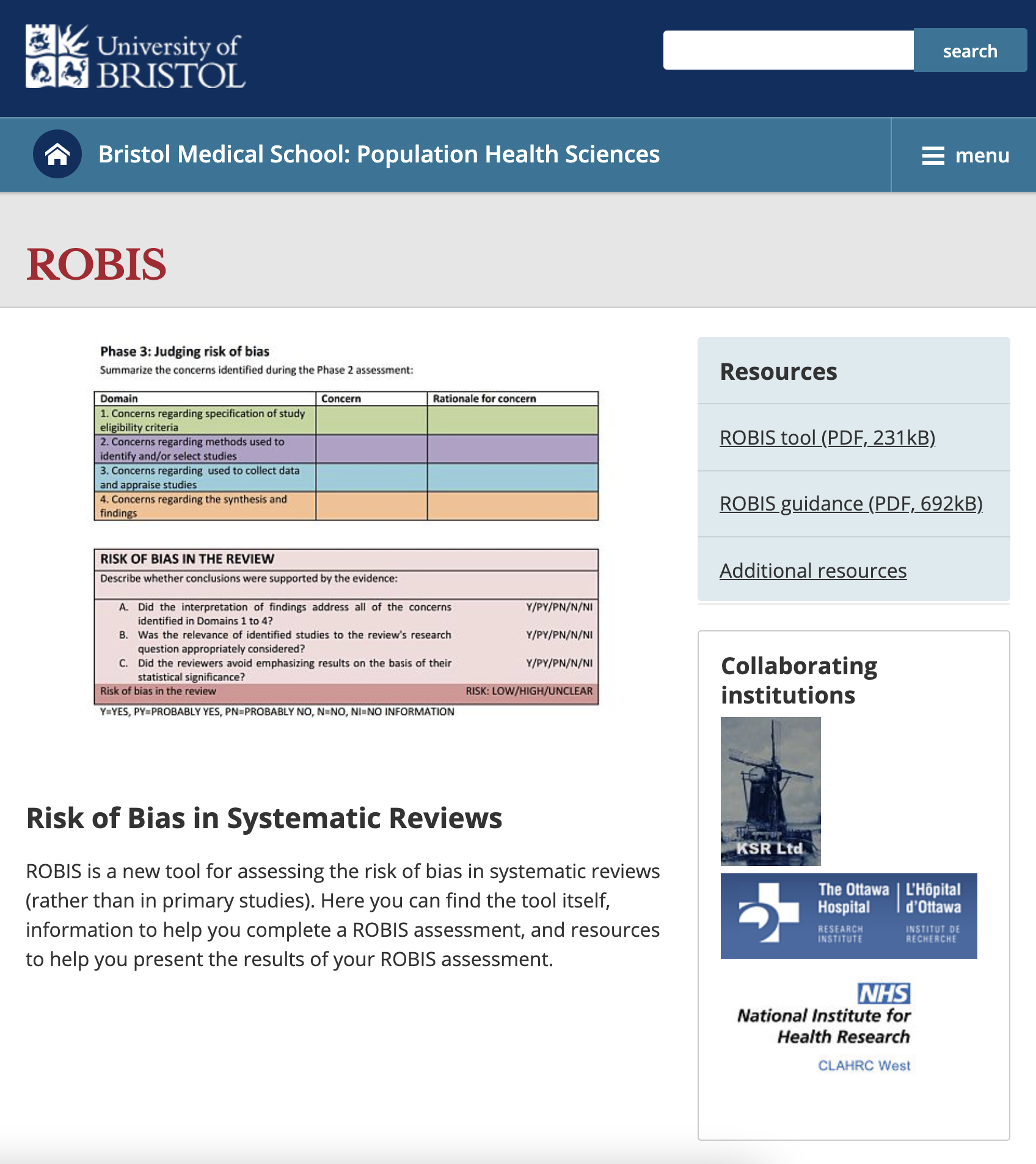 A Risk of Bias Assessment Tool for Systematic Reviews (ROBIS)